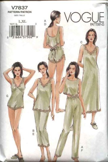 Vogue Sewing Pattern 7837 Misses Size 16-22 Lingerie Camisole Shorts Teddy Top Nightgown Pants
