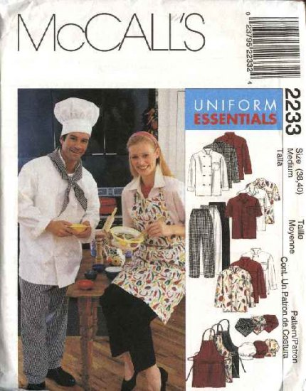 McCall's Sewing Pattern 2233 Misses Mens Size 42-44  Chef's Cook's Uniform Jacket Shirt Pants Apron
