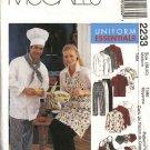 McCall's Sewing Pattern 2233 Misses Mens Size 42-44  Chef's Cook's Uniform Jacket Shirt Pants Apron
