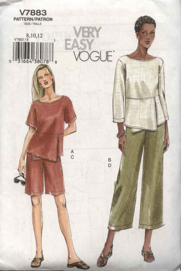 Vogue Sewing Pattern 7883 Misses Size 8-10-12 Easy Top Shorts Pants