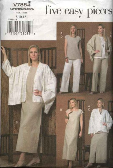 Vogue Sewing Pattern 7884 Misses size 8-10-12 Easy Wardrobe Jacket Top Dress Skirt Pants