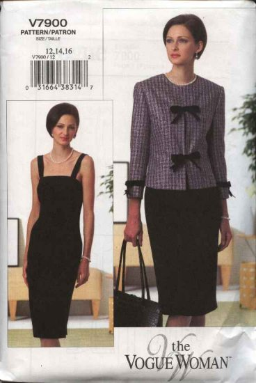 Vogue Woman Sewing Pattern 7900 Misses Size 6-8-10 Easy Jacket Dress Suit