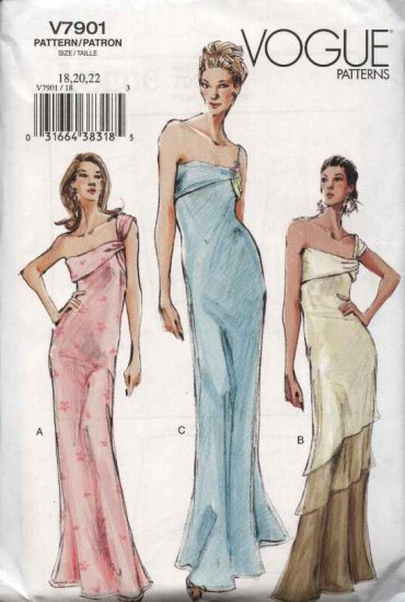 Vogue Sewing Pattern 7901 Misses Size 18-20-22 Formal Draped Dress Evening Gown