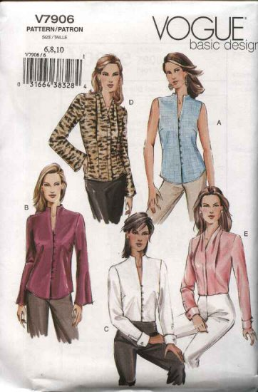 Vogue Sewing Pattern 7906 Misses Size 12-14-16 Easy Basic Fitted Button Front Blouses