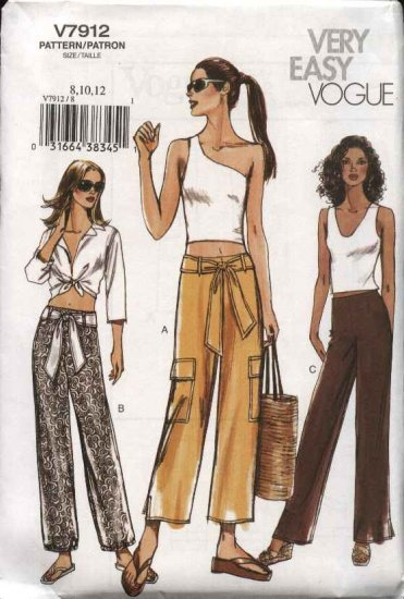 Vogue Sewing Pattern 7912 Misses Size 8-10-12 Low-Rise Pants Sash
