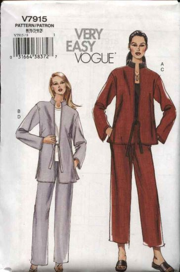 Vogue Sewing Pattern 7915 Misses Size 20-22-24 Easy Loose-fitting Jacket Pull-On Pants Pantsuit