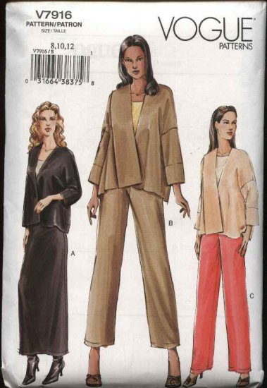 Vogue Sewing Pattern 7916 Misses size 8-10-12 Easy Jacket Pants Skirt