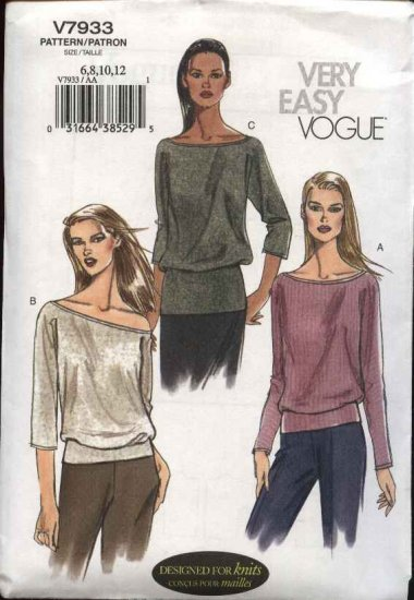Vogue Sewing Pattern 7933 Misses Size 6-8-10-12 Easy Pullover Knit Top