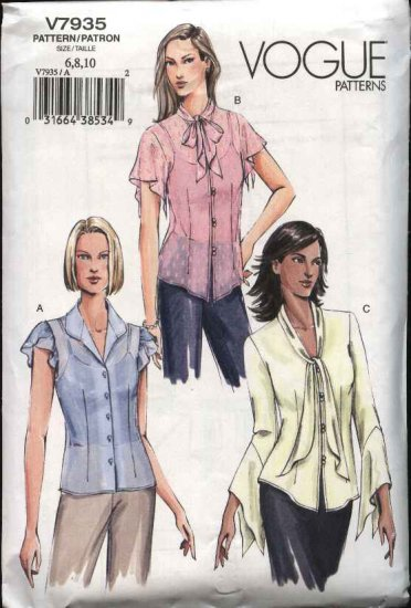 Vogue Sewing Pattern 7935 Misses size 12-14-16 Easy Blouse Camisole Top