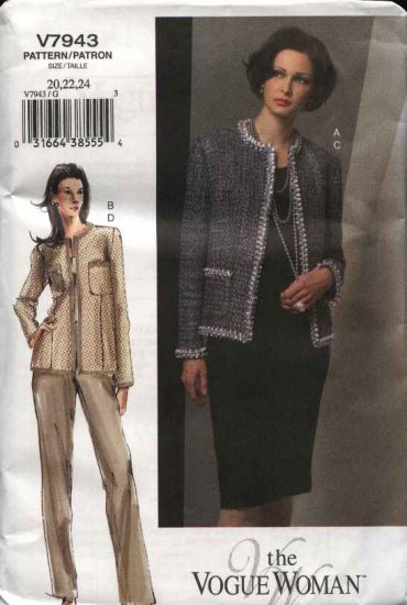 Vogue Sewing Pattern 7943 Misses Size 20-24 Easy Lined Classic Cardigan Style Jacket Skirt Pants