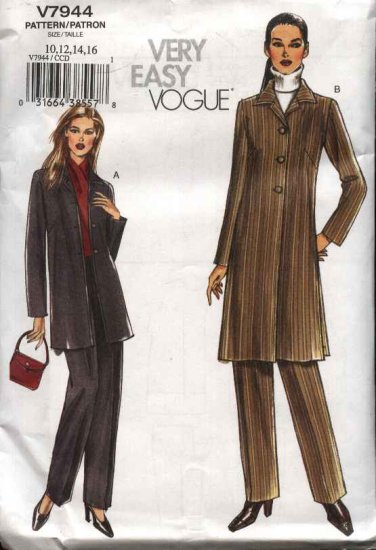 Vogue Sewing Pattern 7944 Misses Size 18-20-22-24 Easy Jacket  Pants