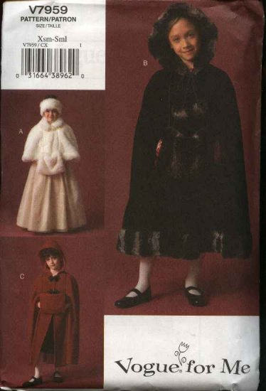 Vogue Sewing Pattern 7959 Girls Size 3-4-5-6 Easy Capelet Cape Muff Headband