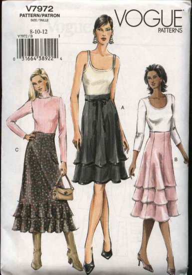 Vogue Sewing Pattern 7972 Misses size 8-10-12 Easy  Layered Flared Skirts