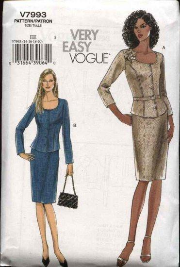 Vogue Sewing Pattern 7993 Misses size 14-16-18-20 Easy Jacket Top  Skirt Belt Suit