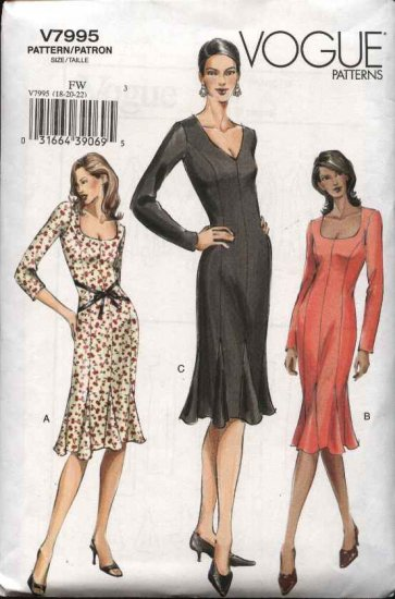 Vogue Sewing Pattern 7995 Misses size 12-14-16 Easy Fitted  Dress Godets