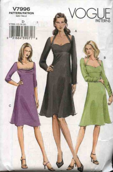 Vogue Sewing Pattern 7996 Misses Size 12-14-16 Easy Empire Waist Halter Flared Dress