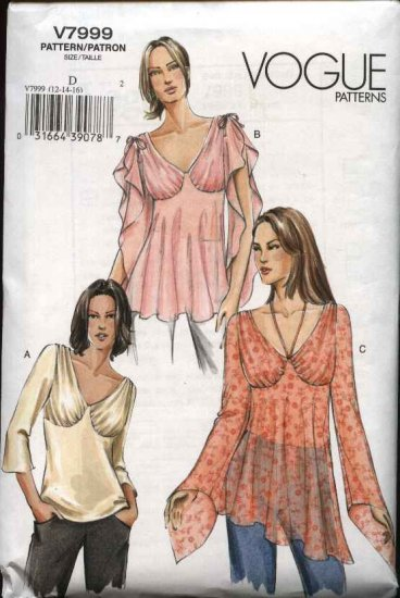 Vogue Sewing Pattern 7999 Misses Size 6-8-10 Easy Unique Top Tunic Flutter Sleeves Fitted Bust