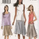Vogue Sewing Pattern 8001 Misses Size 6-8-10-12 Easy Yoke Asymmetrical Knit Skirt