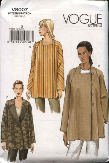 Vogue Sewing Pattern 8007 Misses Size 14-16-18 Easy Lined Asymmetric Loose-fitting Jacket