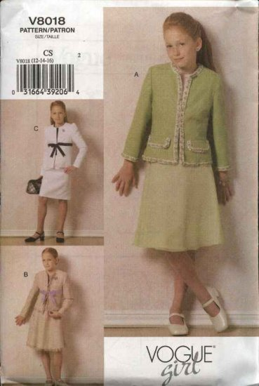 Vogue Sewing Pattern 8018 Girls Size 12-14-16 Easy Lined Jacket & Skirt