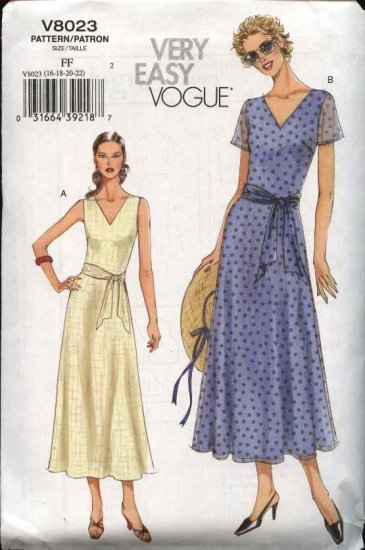Vogue Sewing Pattern 8023 Misses size 8-10-12-14 Easy Summer Dresses Sash