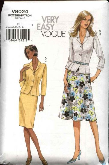 Vogue Sewing Pattern 8024 Misses Size 8-10-12-14 Easy Jacket Skirts Top Suit