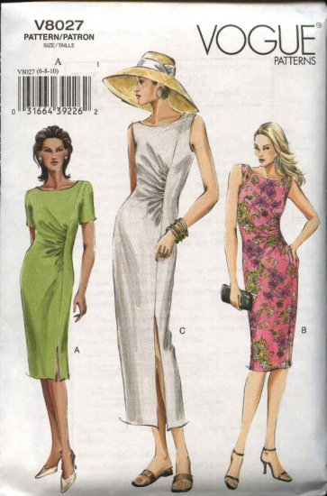 Vogue Sewing Pattern 8027 Misses Size 6-8-10 Easy Ruched Dress