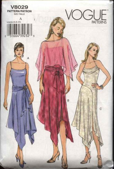 Vogue Sewing Pattern 8029 Misses size 12-14-16 Easy Formal Dress Capelet Sash