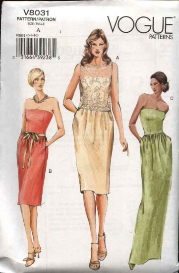 Vogue Sewing Pattern 8031 Misses Size 6-8-10 Formal Evening Gown Top Strapless Dress