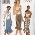 Vogue Sewing Pattern 8036 Misses Size 8-10-12-14 Easy Fitted Skirt Ruffle Hem