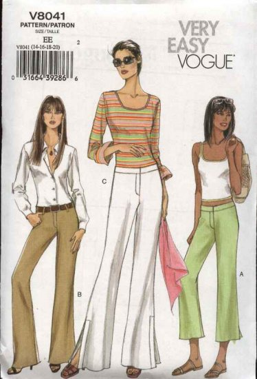 Vogue Sewing Pattern 8041 Misses Size 14-16-18-20 Easy  Low Rise Boot Legged Pants