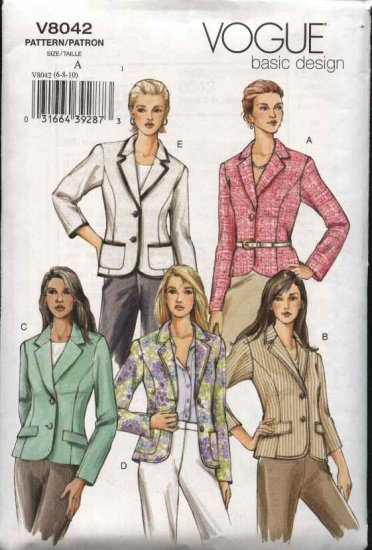 Vogue Sewing Pattern 8042 Misses Size 12-14-16 Basic Fitted Lined Princess Seam Jacket