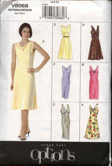 Vogue Sewing Pattern 8068 Missees Size 18-20-22 Easy Sleeveless Raised Waist Dress