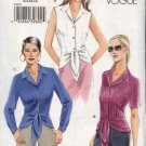 Vogue Sewing Pattern 8078 Misses Size 6-8-10-12 Easy Blouse Top Shirt Button Front Peplum