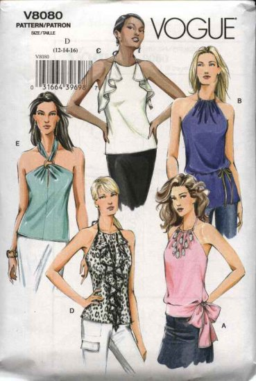 Vogue Sewing Pattern 8080 Misses Size 12-14-16 Easy  Halter Tops Tunics