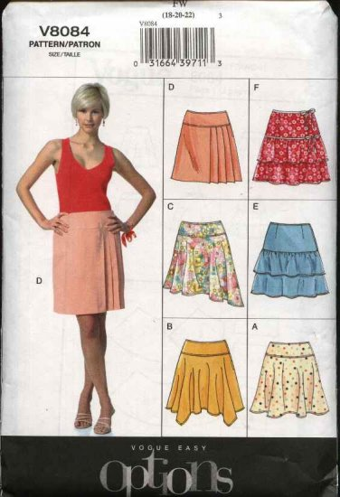 Vogue Sewing Pattern 8084 Misses size 18-20-22 Easy Yoked Ruffled Flared Pleated Skirt