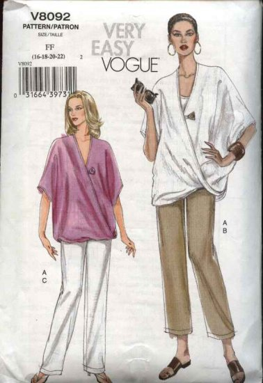 Vogue Sewing Pattern 8092 Misses Size 8-10-12-14 Easy  Loose Top Pull-On Pants