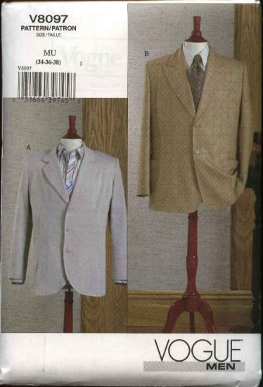 "Vogue Sewing Pattern 8097 Mens Chest Size 40-44"" Unlined Sports Jacket Blazer"