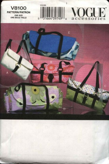 Vogue Sewing Pattern 8100 Five Bags Pockbooks Totes Handbags Purses