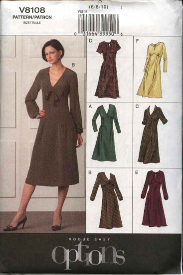 Vogue Sewing Pattern 8108 Misses Size 6-8-10 Easy Empire A-line Dress