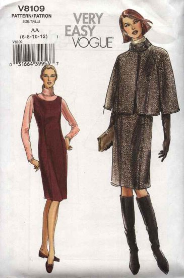 Vogue Sewing Pattern 8109 Misses Size 6-8-10-12 Easy Lined Capelet Princess Seam Jumper