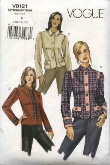 Vogue Sewing Pattern 8121 Misses Size 6-8-10 Easy Fitted Lined  Jacket Peplum