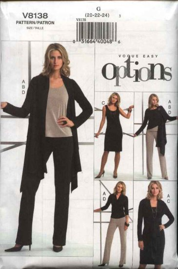 Vogue Sewing Pattern 8138 Misses Size 8-10-12 Easy Knit Wardrobe Jacket Top Dress Pants