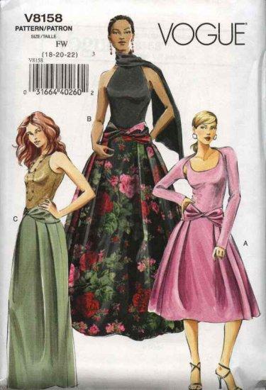 Vogue Sewing Pattern 8158 Misses Size 18-20-22 Easy Evening formal Short Long Skirt