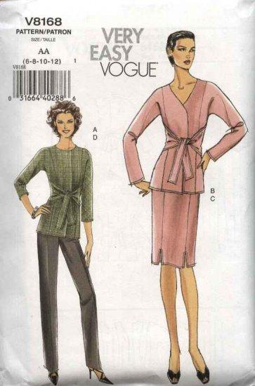 Vogue Sewing Pattern 8168 Misses Size 6-8-10-12 Easy Jacket Skirt Pants Suit Pantsuit