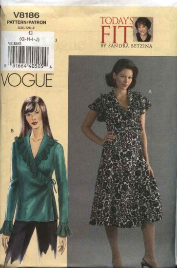 Vogue Sewing Pattern 8186 Womens Plus Size 24W-32W Easy Sandra Betzina Wrap Dress Top Blouse