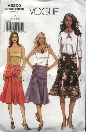 Vogue Sewing Pattern 8200 Misses Size 6-8-10 Easy Flared Drape Waist Skirt