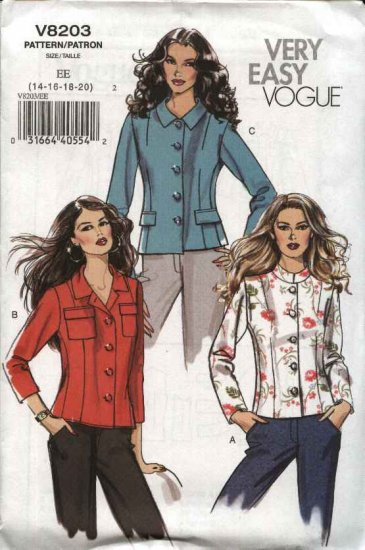 Vogue Sewing Pattern 8203 Misses Size 14-16-18-20 Easy Unlined Jacket
