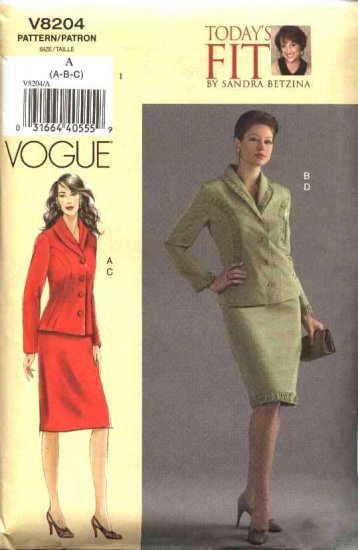 Vogue Sewing Pattern 8204 Misses Size 10-14 Sandra Betzina Jacket Skirt Suit
