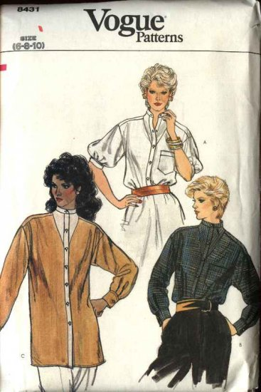 Vogue Sewing Pattern 8431 Misses Size 6-8-10 Blouse Shirt Top